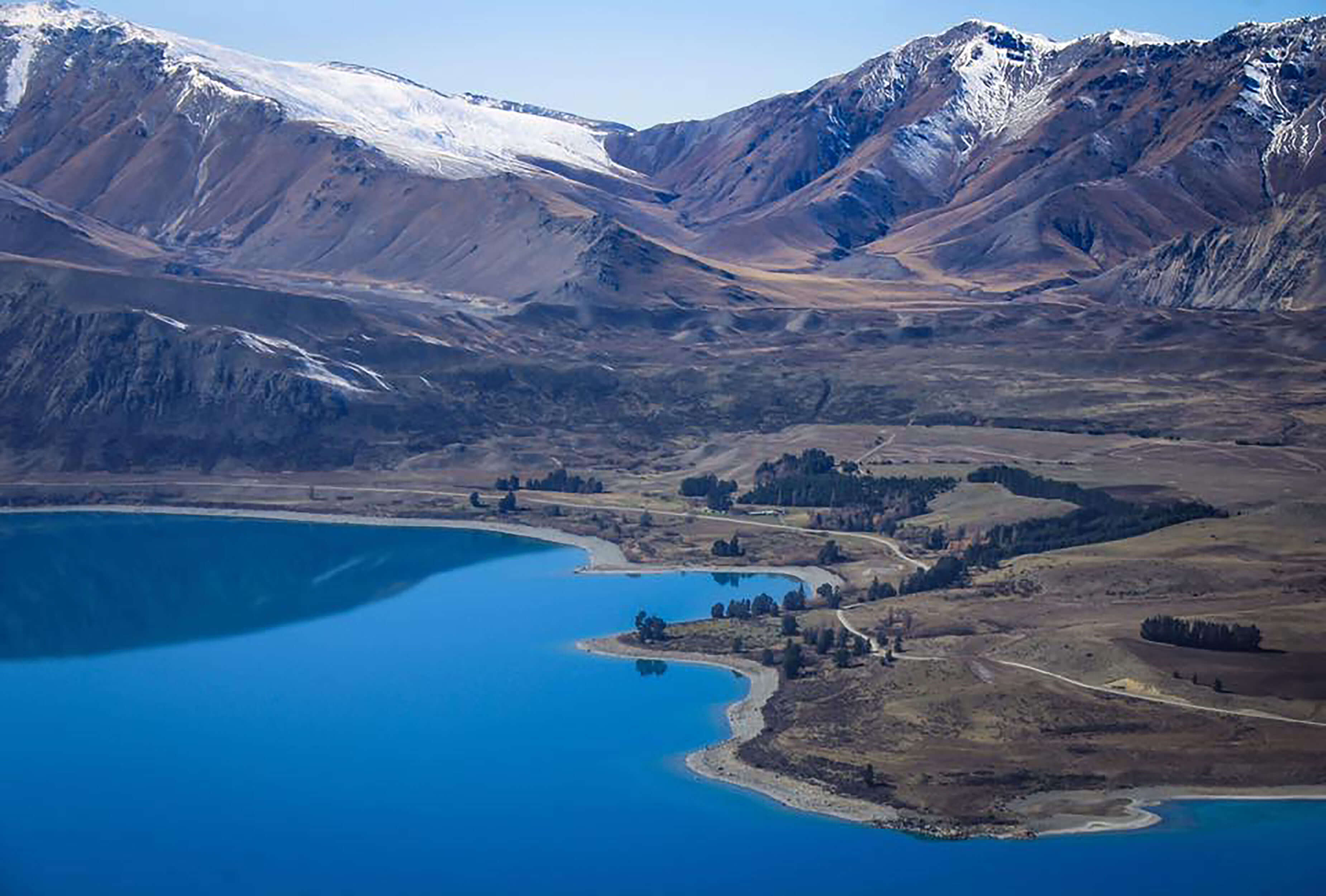 Aerial view of Lake Tekapo and landscape