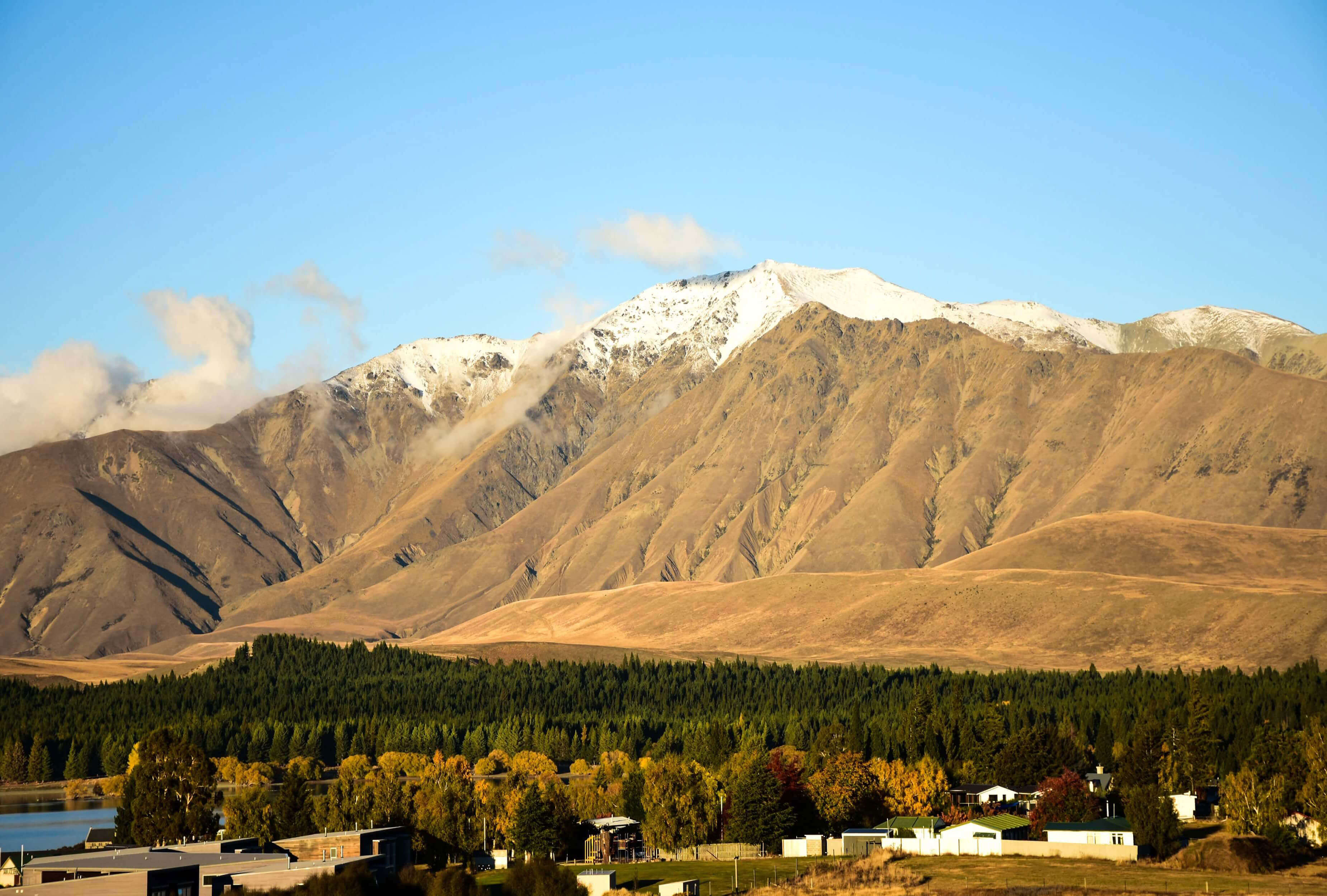 Image of the Two Thumb Mountain Range in Lake Tekapo with snow capped peaks in autumn